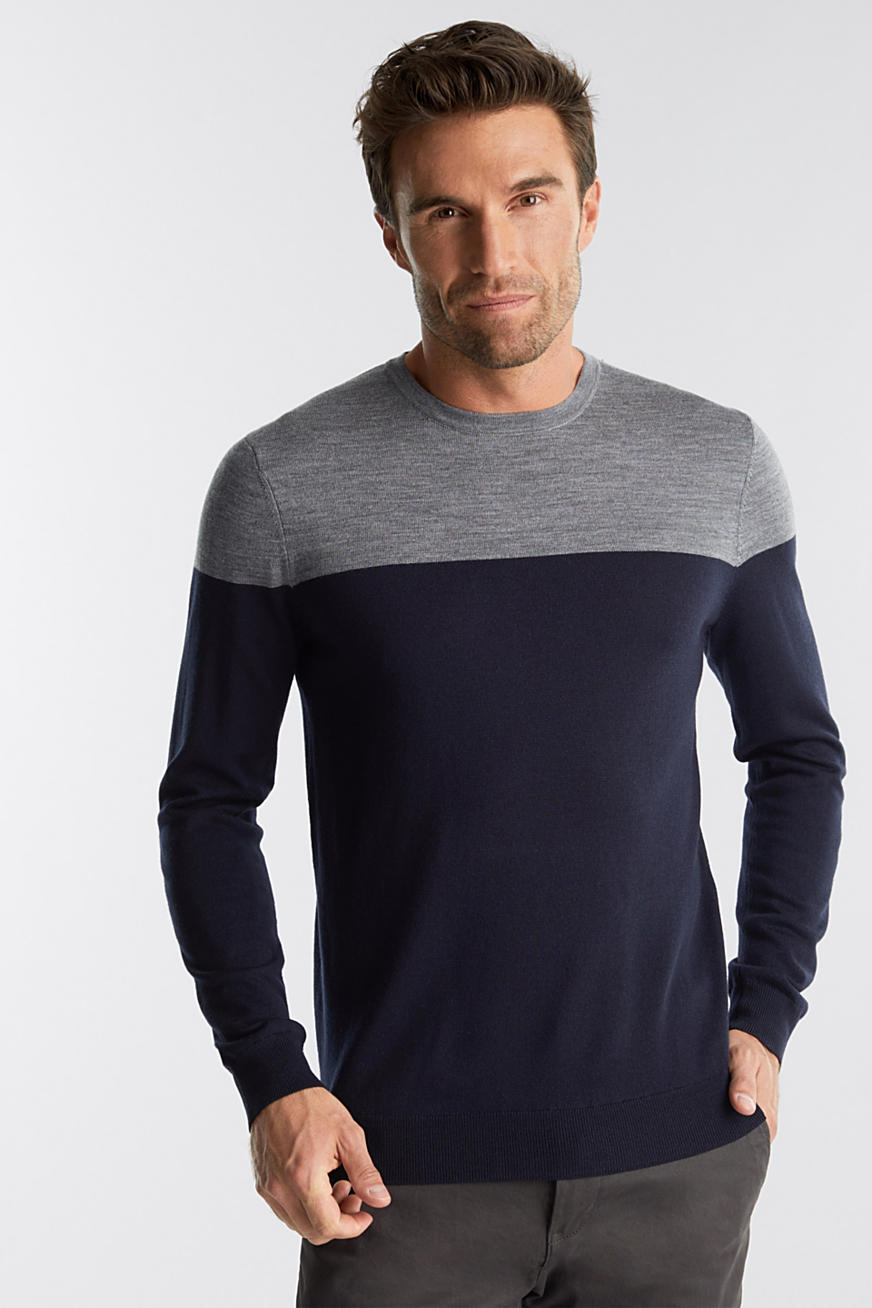 100 % laine mérinos : le pull-over colour blocking