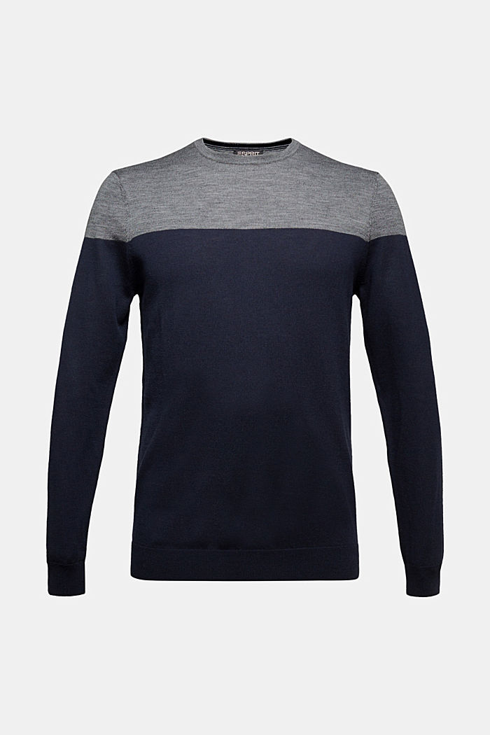 100% merino wool: Colour block jumper, GREY, overview