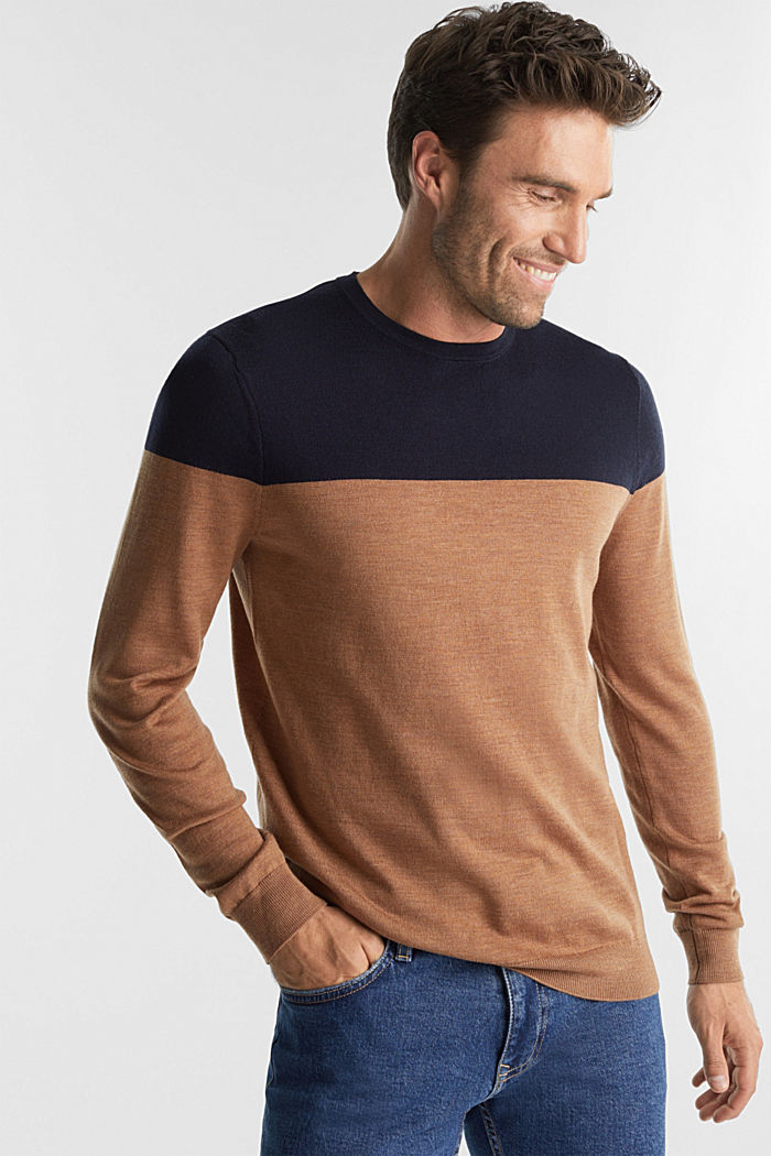 100% merino wool: Colour block jumper