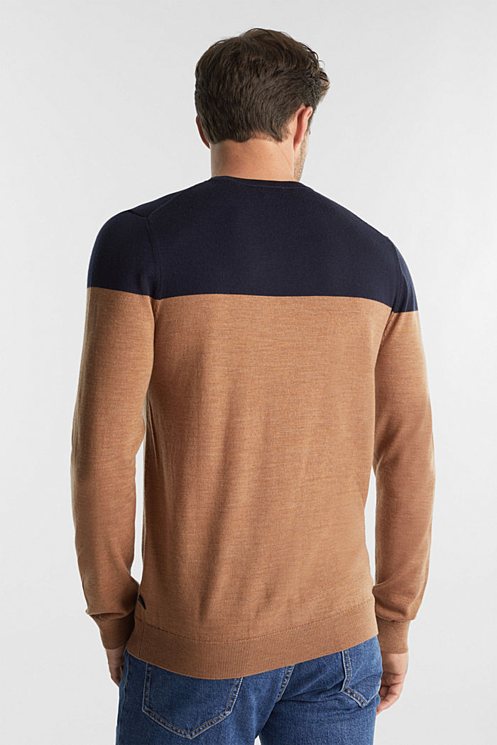 100% merino wool: Colour block jumper, NAVY, detail image number 3