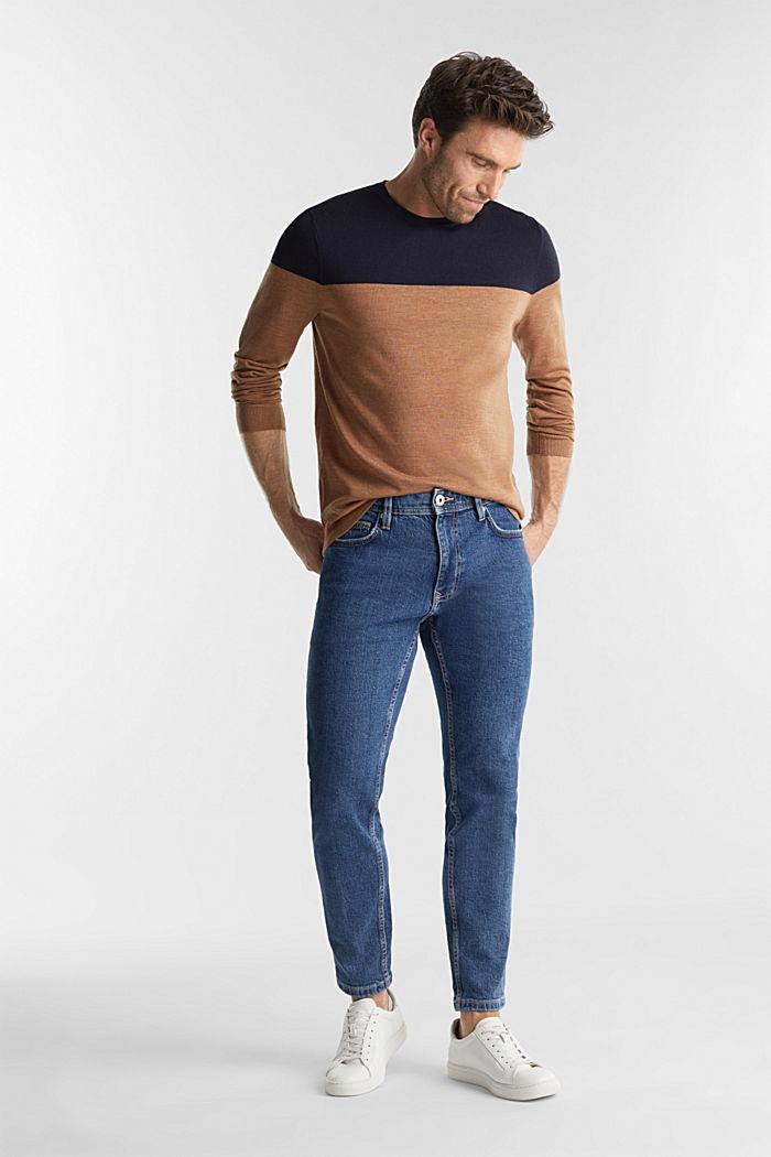 100% merino wool: Colour block jumper, NAVY, detail image number 1