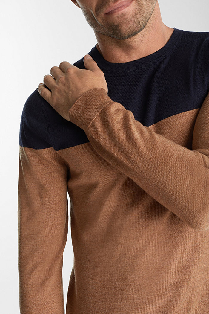 100% merino wool: Colour block jumper, NAVY, detail image number 2