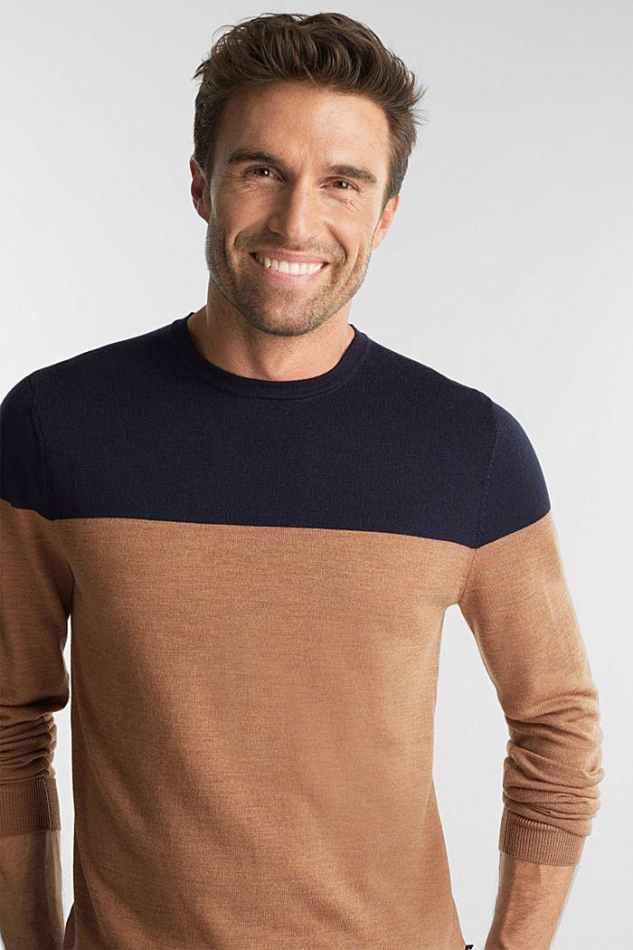 100% merino wool: Colour block jumper, NAVY, detail image number 5