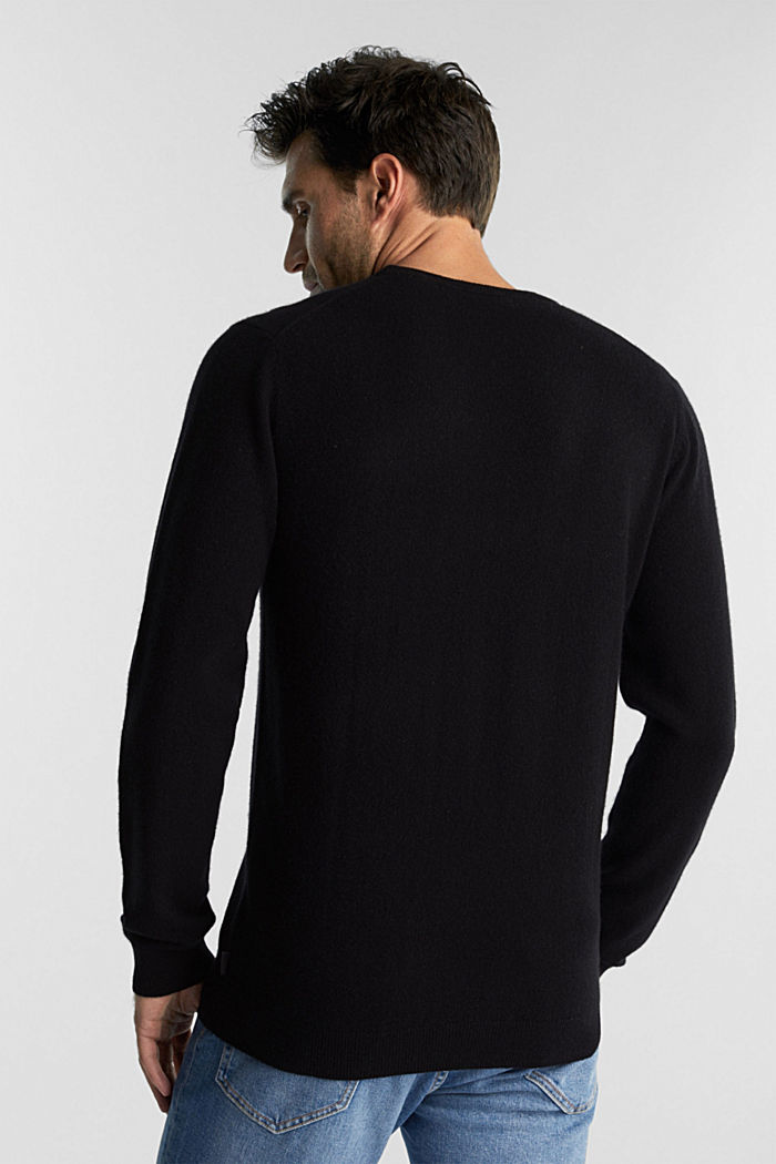 With cashmere: jumper with a round neckline, BLACK, detail image number 3