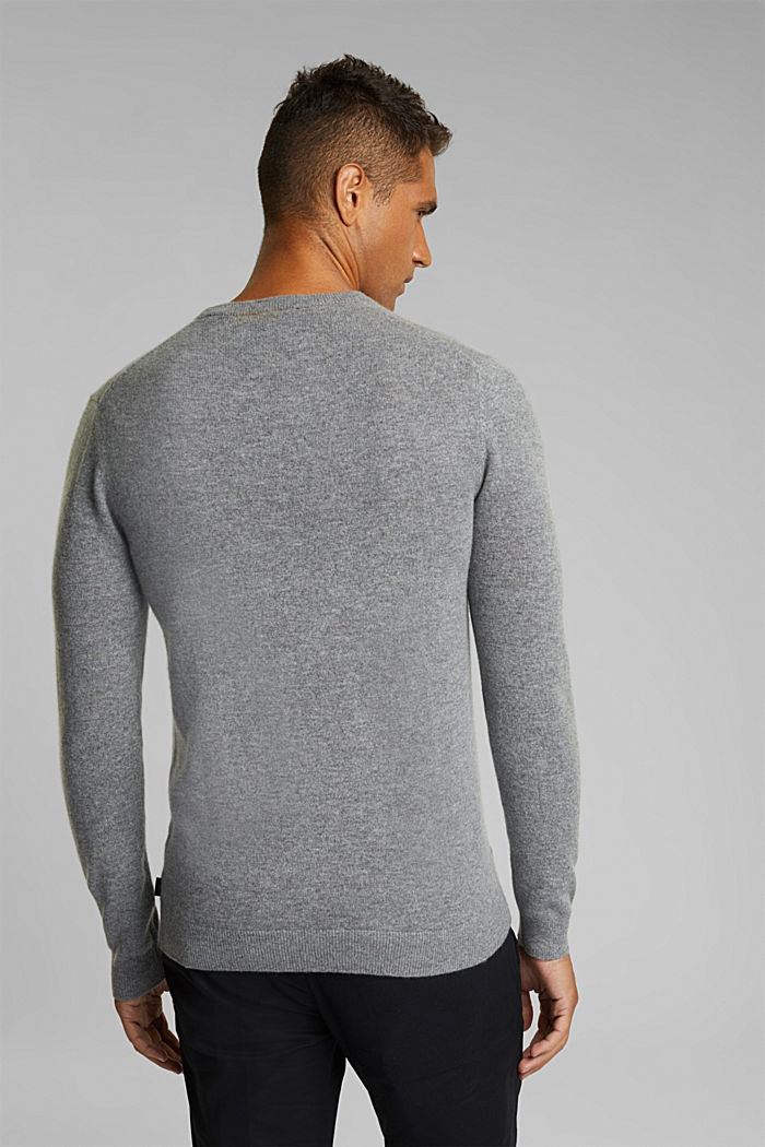 With cashmere: jumper with a round neckline, GREY, detail image number 3