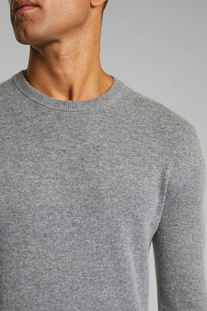 With cashmere: jumper with a round neckline, GREY, detail image number 2
