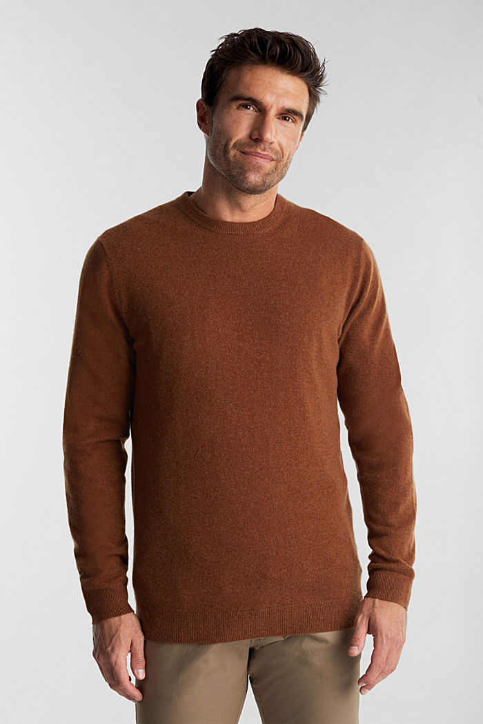 With cashmere: jumper with a round neckline, RUST BROWN, detail image number 0
