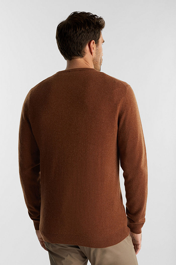 With cashmere: jumper with a round neckline, RUST BROWN, detail image number 3