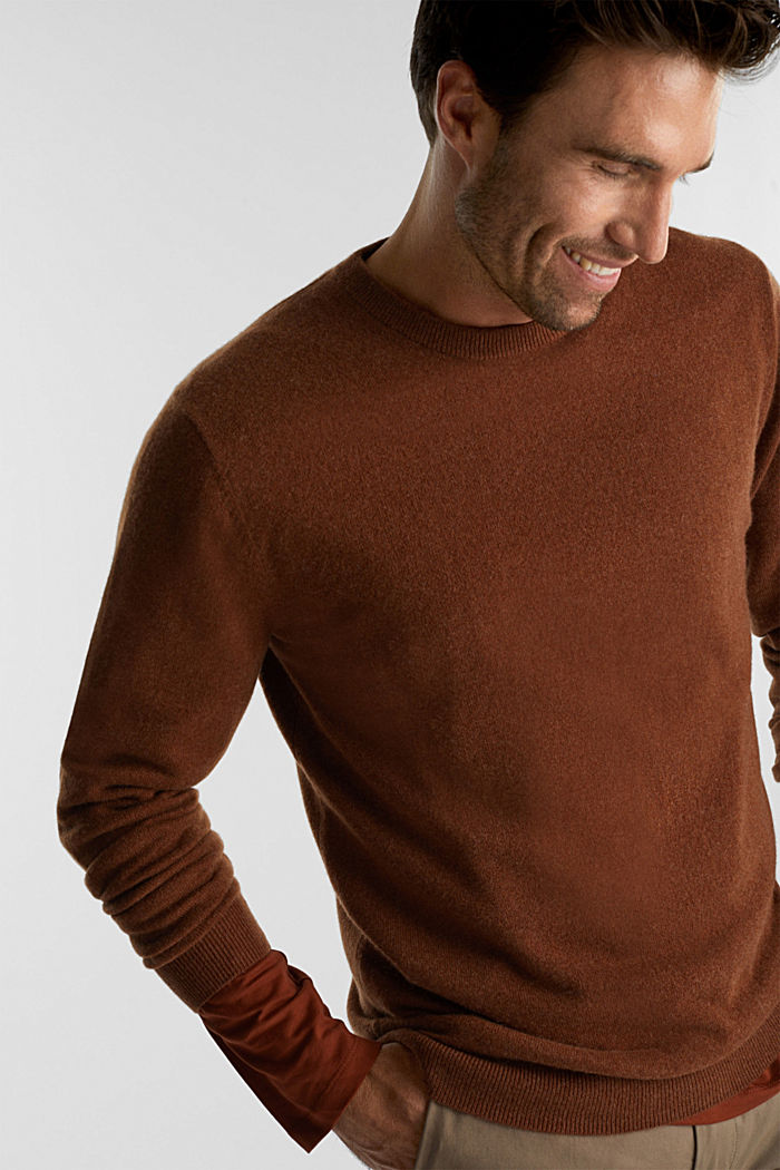 With cashmere: jumper with a round neckline, RUST BROWN, detail image number 6