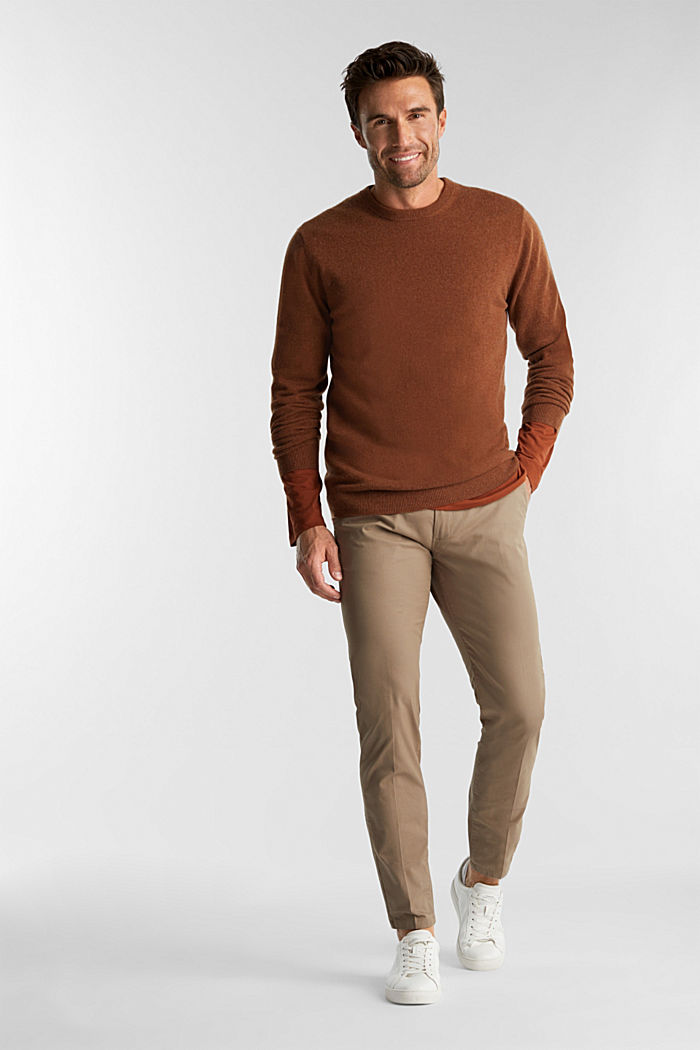 With cashmere: jumper with a round neckline, RUST BROWN, detail image number 1