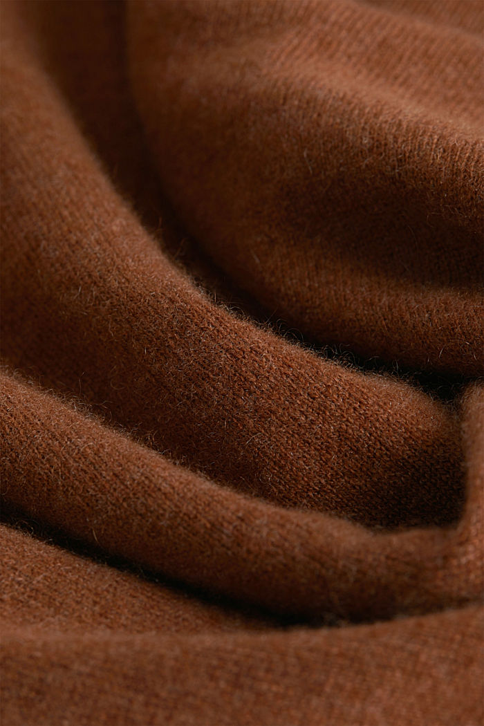 With cashmere: jumper with a round neckline, RUST BROWN, detail image number 4