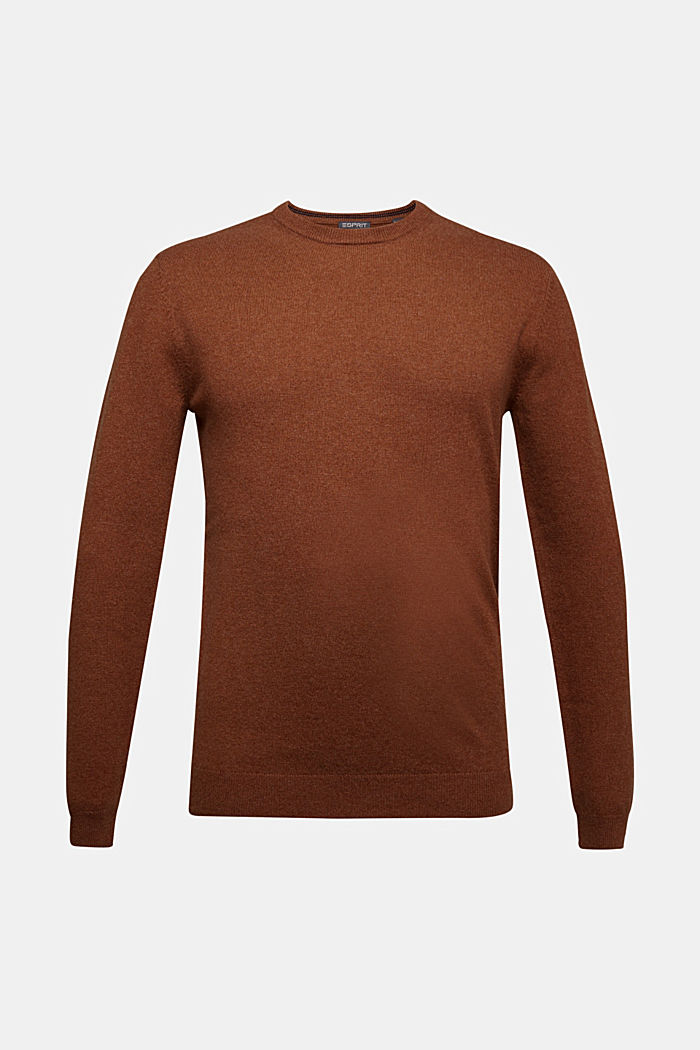 With cashmere: jumper with a round neckline, RUST BROWN, detail image number 5
