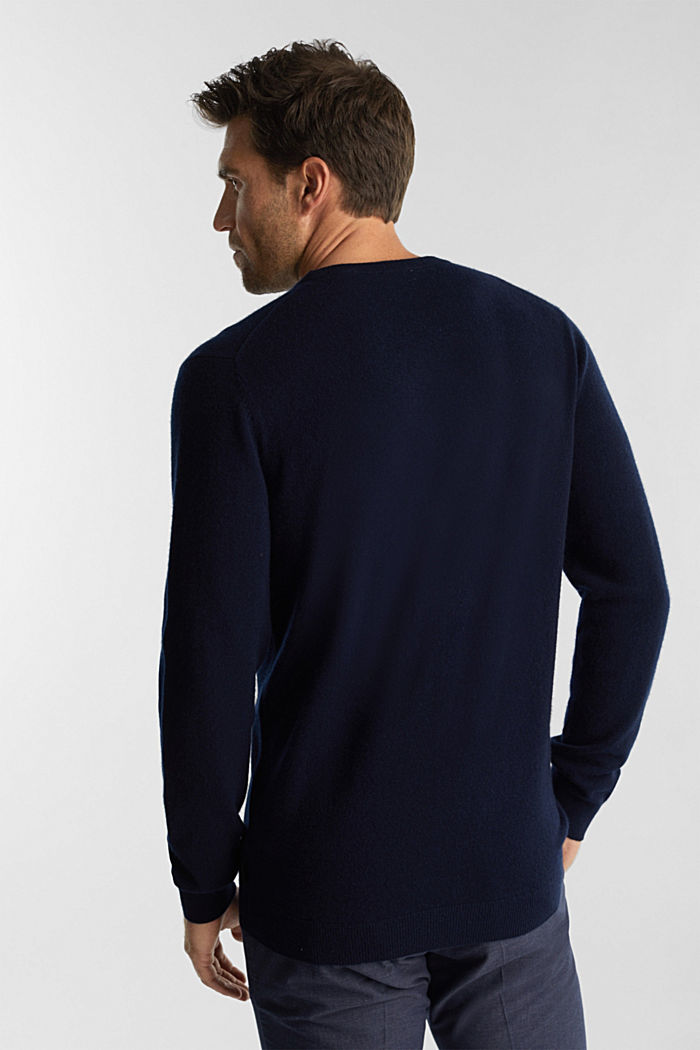 With cashmere: jumper with a round neckline, NAVY, detail image number 3