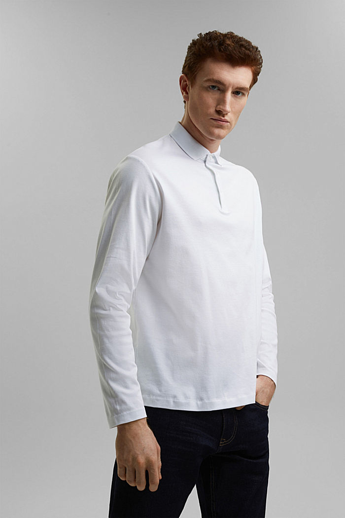 Jersey polo shirt made of 100% organic cotton, WHITE, detail image number 0