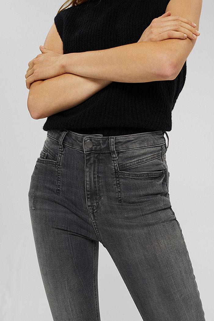 Jeans met used details en superstretch, GREY MEDIUM WASHED, detail image number 2