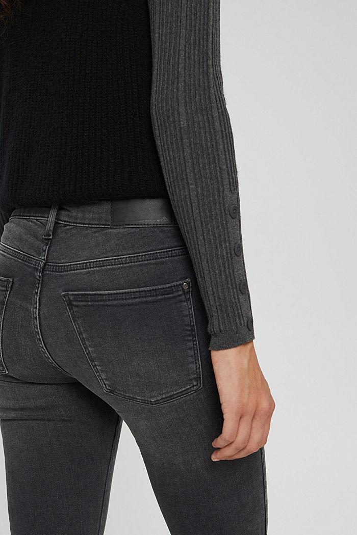 Cropped Jeans mit geschlitztem Saum, BLACK DARK WASHED, detail image number 2