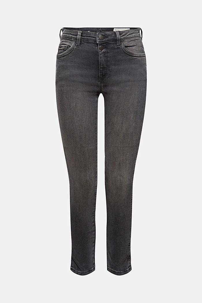 Cropped Jeans mit geschlitztem Saum, BLACK DARK WASHED, detail image number 6
