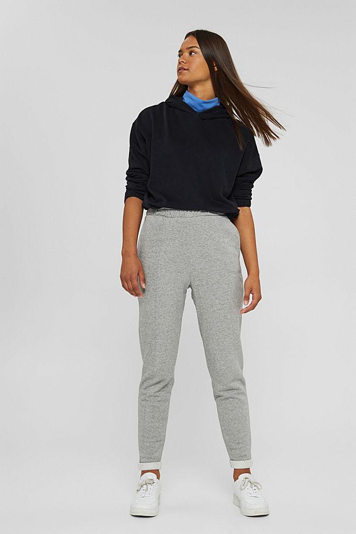 Smalle broek met hoge taille, van sweatstof, MEDIUM GREY, detail image number 0