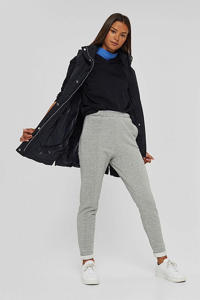 Smalle broek met hoge taille, van sweatstof, MEDIUM GREY, detail image number 1