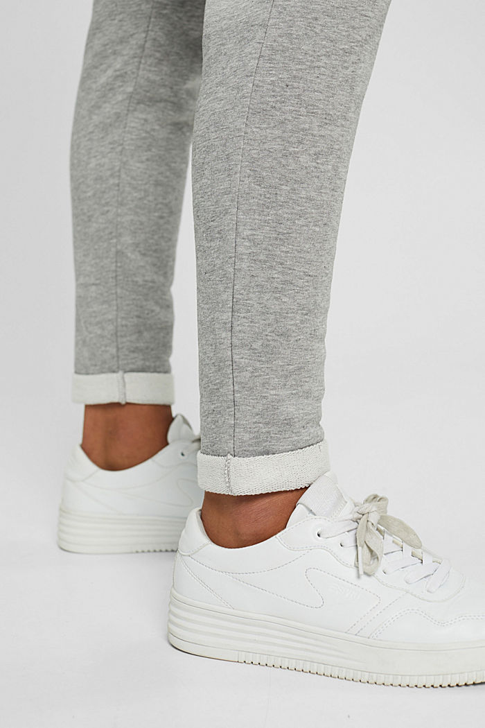 Smalle broek met hoge taille, van sweatstof, MEDIUM GREY, detail image number 5