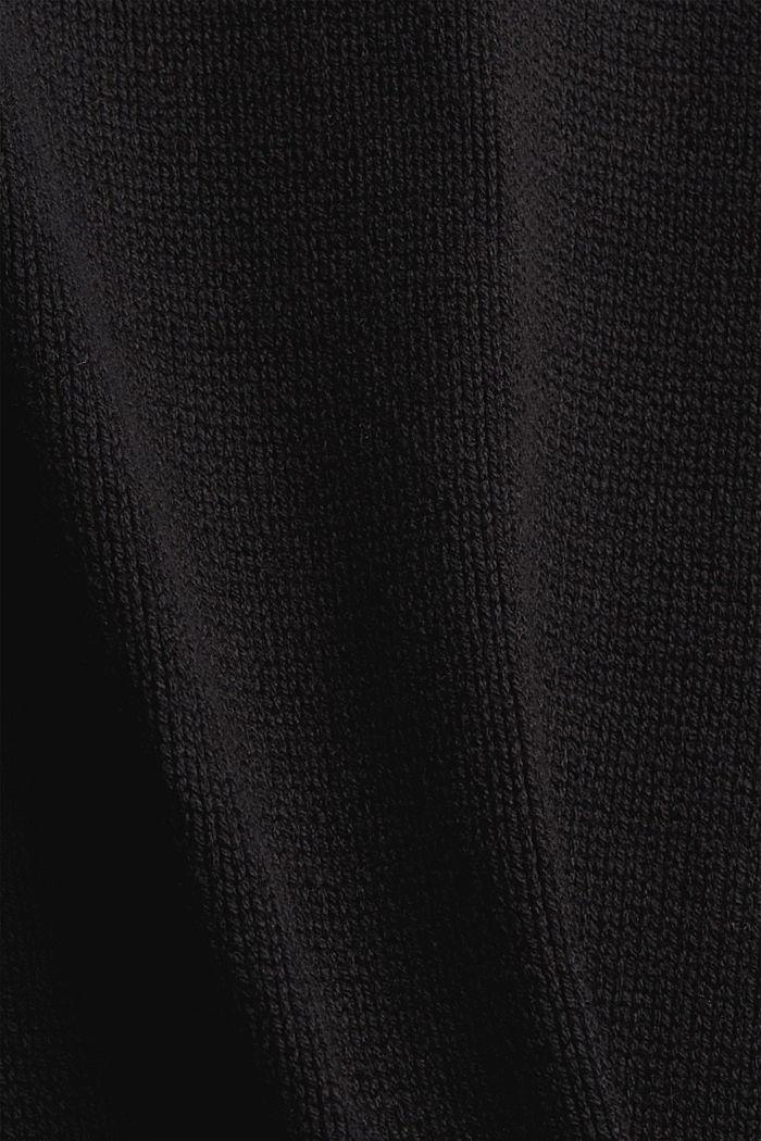 Strickkleid mit Rollkragen aus Bio-Baumwoll-Mix, BLACK, detail image number 4