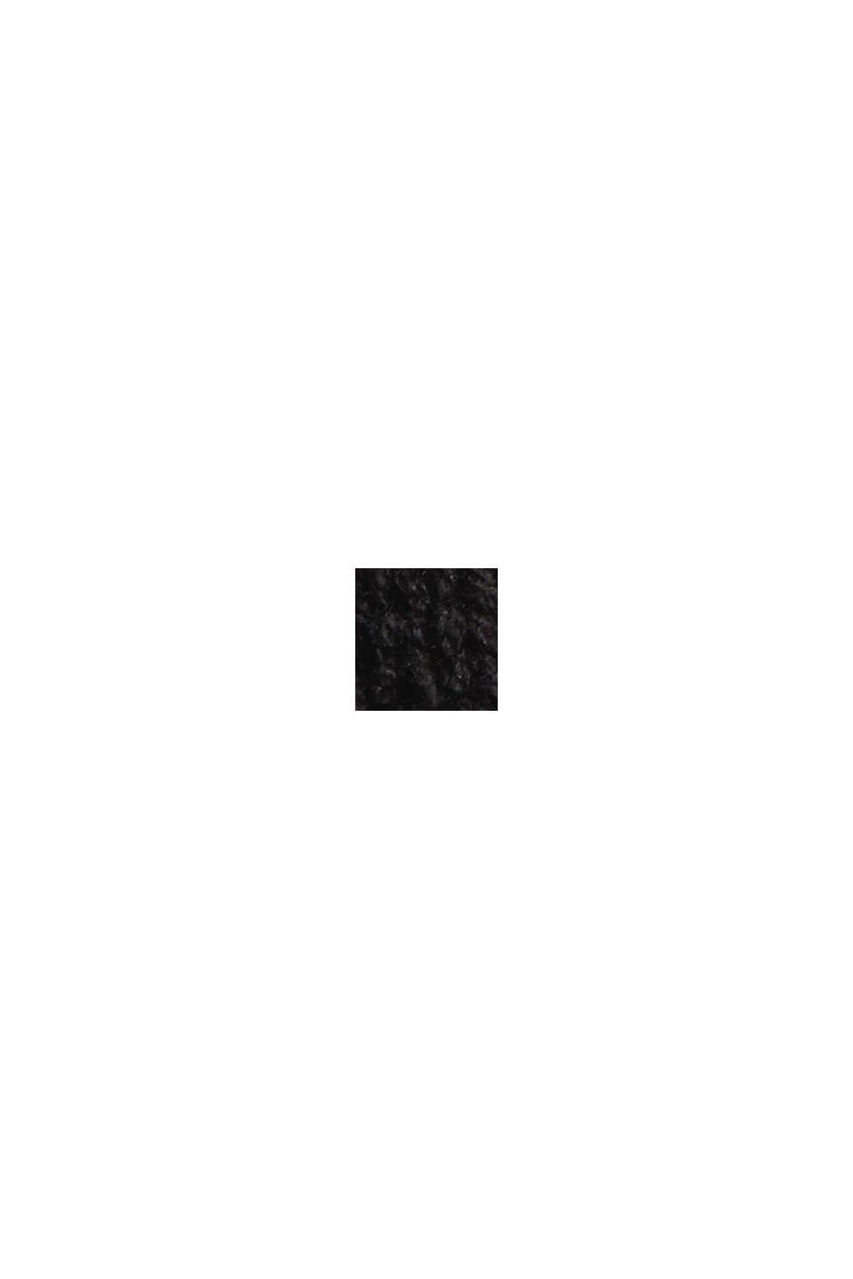 Strikkjole med rullekrave, økologisk bomuldsblanding, BLACK, swatch