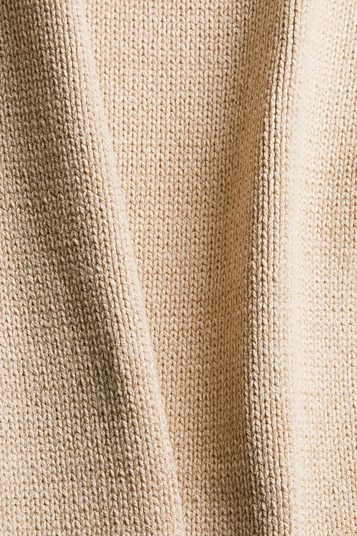 Strickkleid mit Rollkragen aus Bio-Baumwoll-Mix, BEIGE, detail image number 4