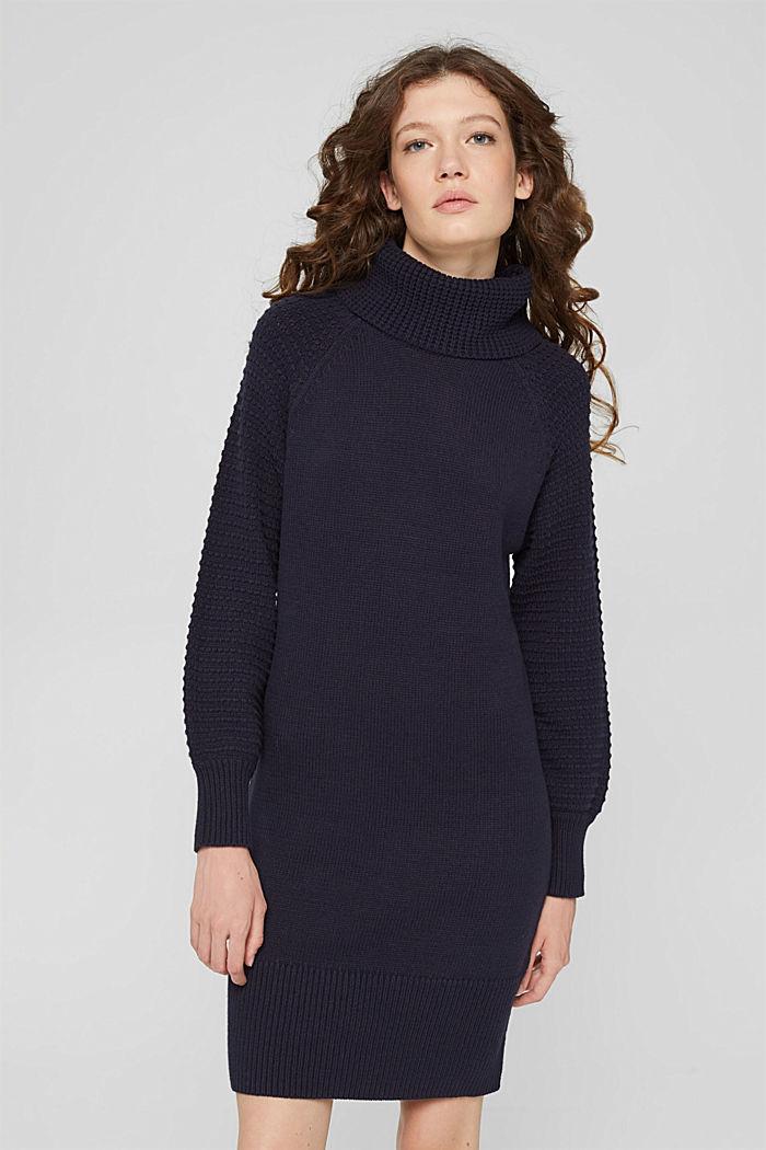 Gebreide jurk met col, mix met biologisch katoen, NAVY, detail image number 0