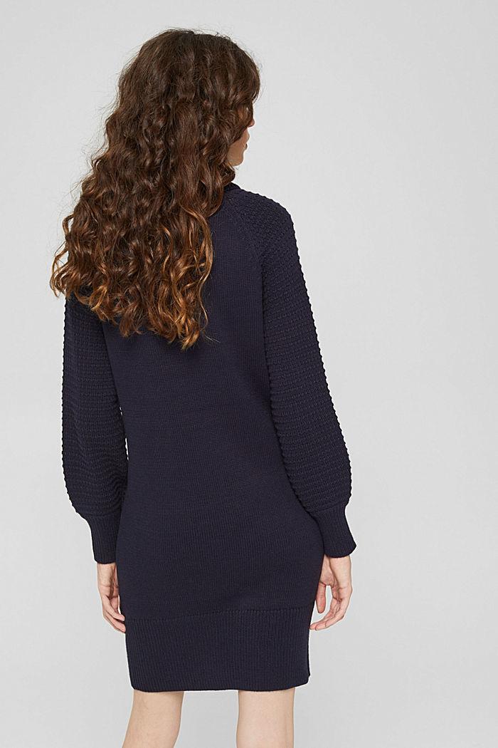 Gebreide jurk met col, mix met biologisch katoen, NAVY, detail image number 2