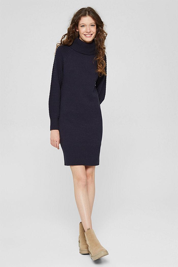 Gebreide jurk met col, mix met biologisch katoen, NAVY, detail image number 5