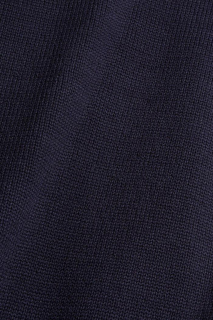Gebreide jurk met col, mix met biologisch katoen, NAVY, detail image number 4