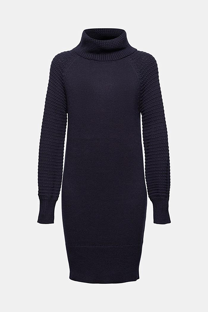 Gebreide jurk met col, mix met biologisch katoen, NAVY, detail image number 6