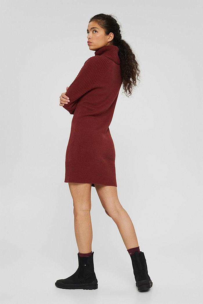 Gebreide jurk met col, mix met biologisch katoen, GARNET RED, detail image number 2