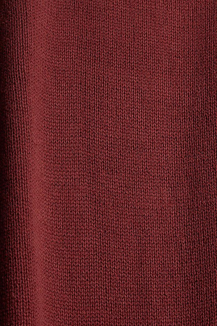 Gebreide jurk met col, mix met biologisch katoen, GARNET RED, detail image number 4