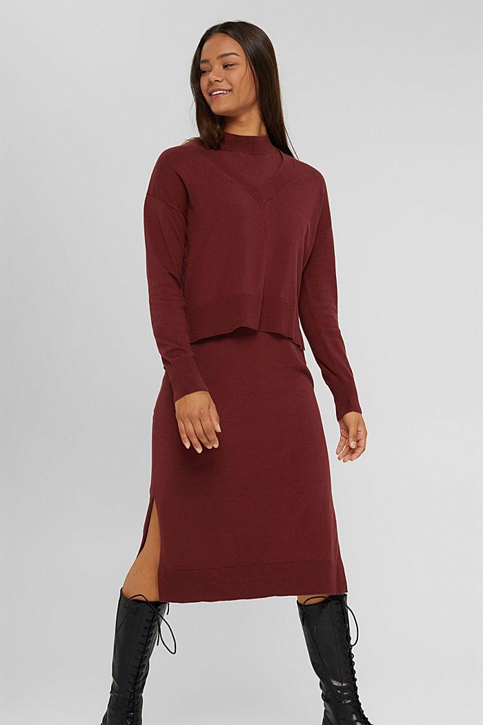 2-in-1: trui en midi-jurk, mix met biologisch katoen, GARNET RED, detail image number 0