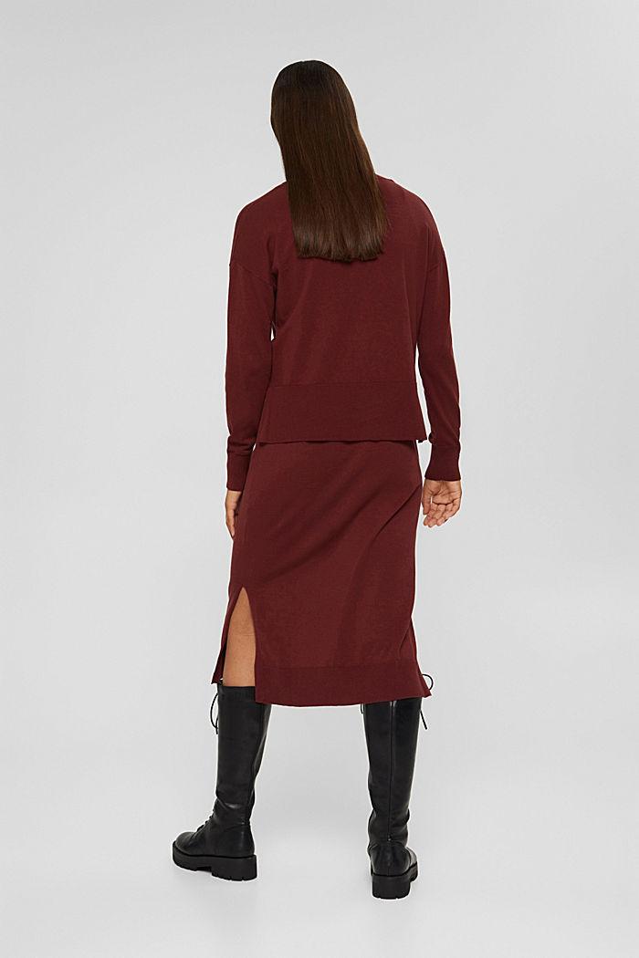 2-in-1: trui en midi-jurk, mix met biologisch katoen, GARNET RED, detail image number 2