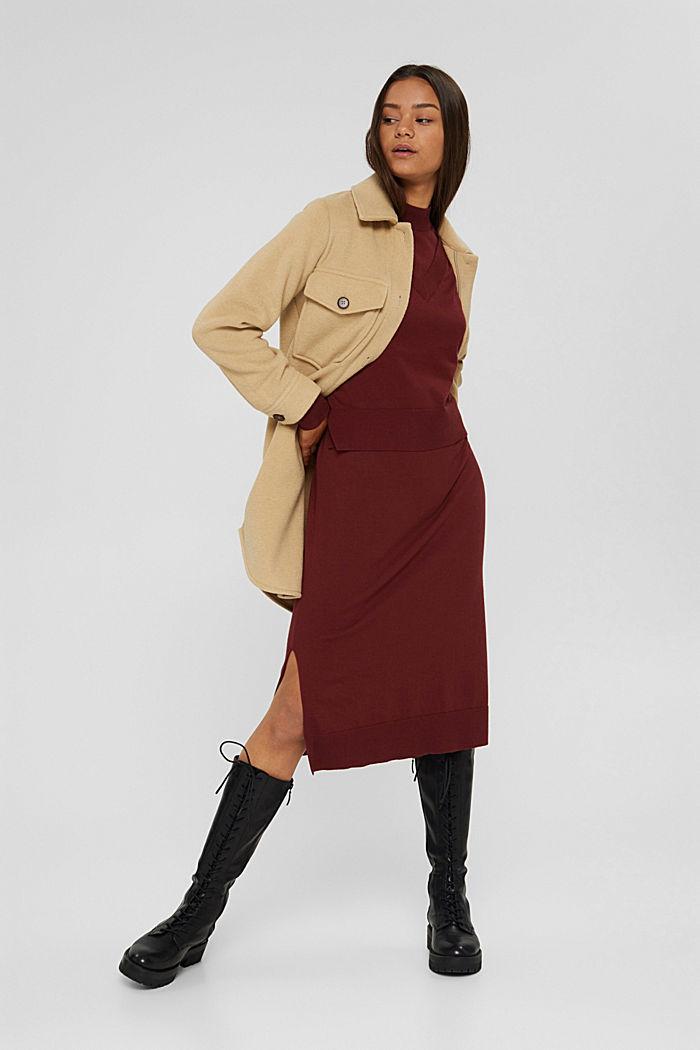 2-in-1: trui en midi-jurk, mix met biologisch katoen, GARNET RED, detail image number 1