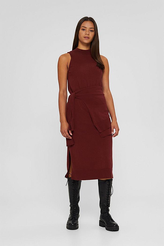 2-in-1: trui en midi-jurk, mix met biologisch katoen, GARNET RED, detail image number 7