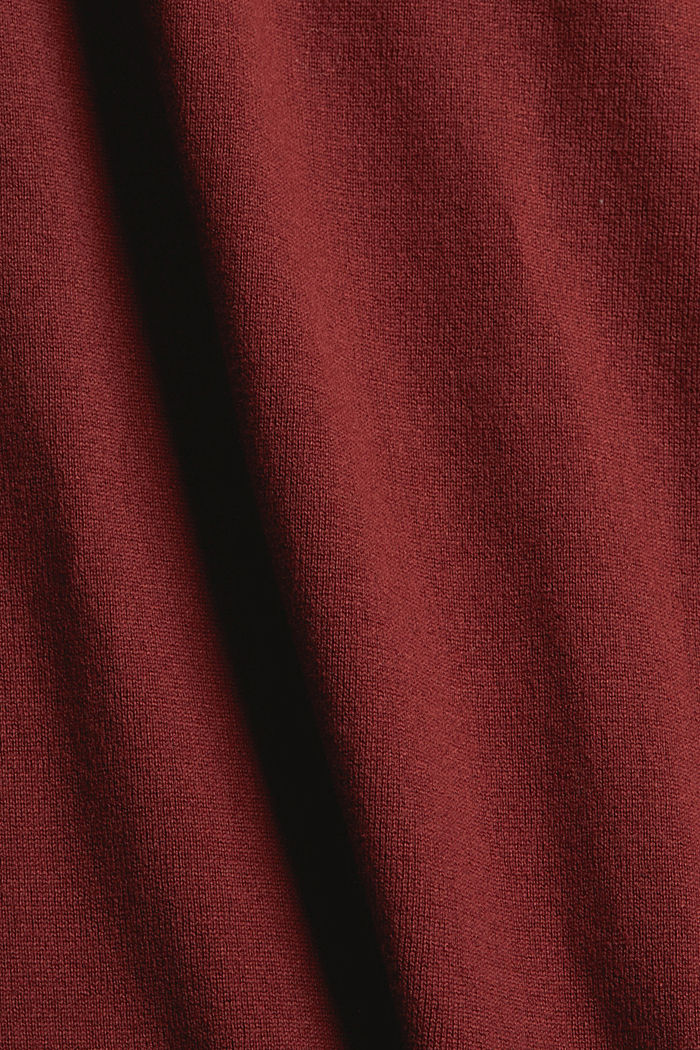 2-in-1: trui en midi-jurk, mix met biologisch katoen, GARNET RED, detail image number 4