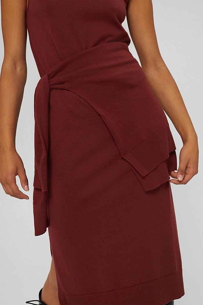 2-in-1: trui en midi-jurk, mix met biologisch katoen, GARNET RED, detail image number 6