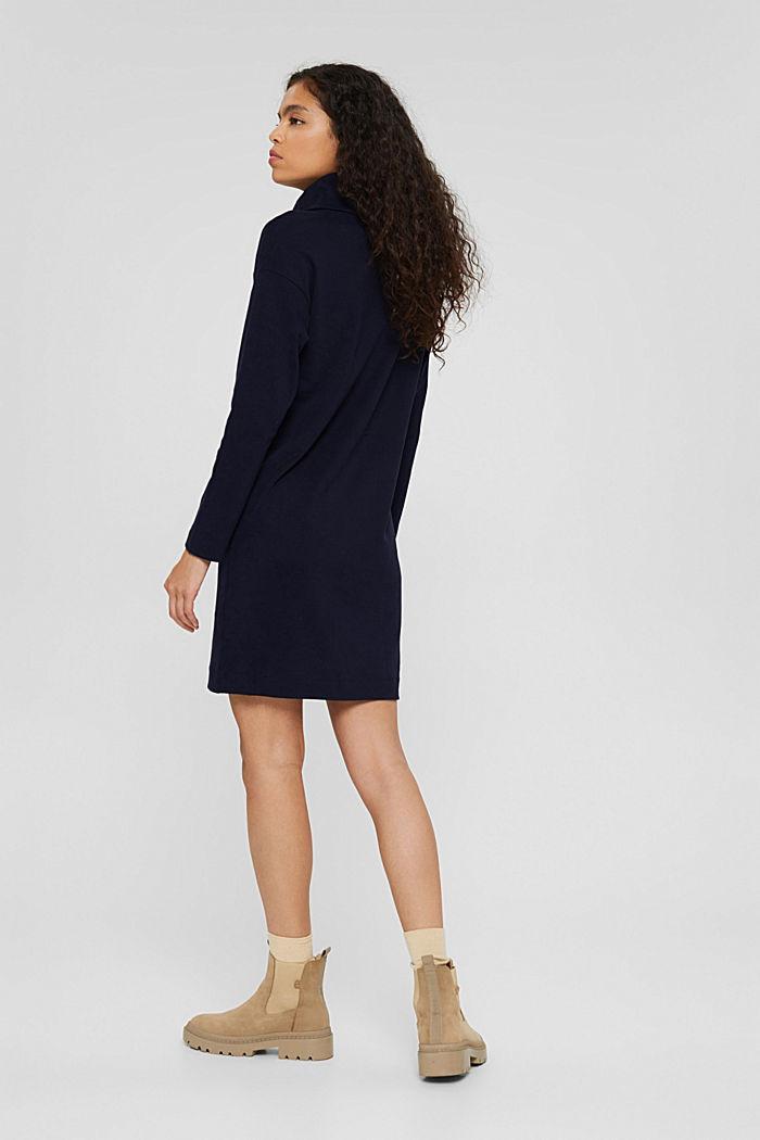 Jerseykleid mit Rollkragen, Organic Cotton, NAVY, detail image number 2