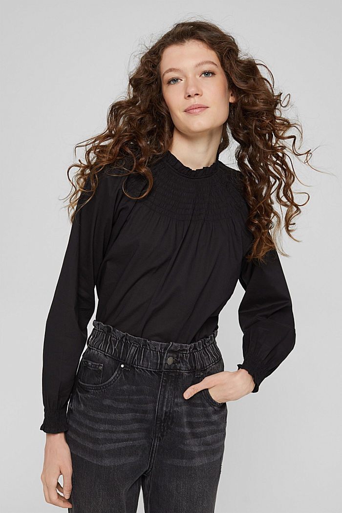 Gesmokte blouse van 100% organic cotton, BLACK, detail image number 0