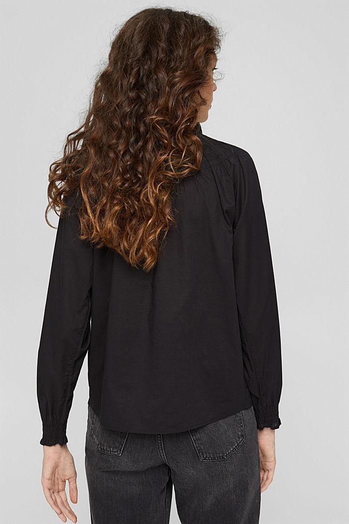 Gesmokte blouse van 100% organic cotton, BLACK, detail image number 3