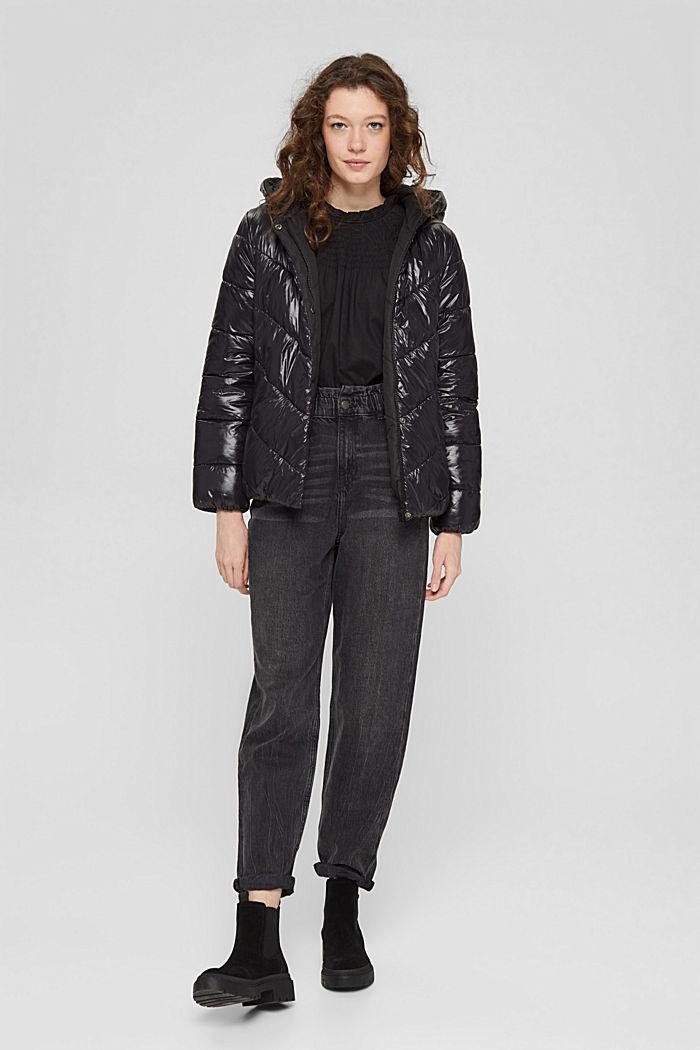 Gesmokte blouse van 100% organic cotton, BLACK, detail image number 1