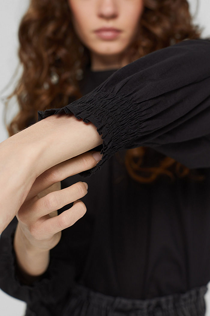 Gesmokte blouse van 100% organic cotton, BLACK, detail image number 2