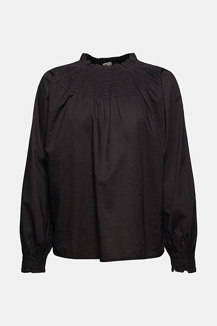 Gesmokte blouse van 100% organic cotton, BLACK, detail image number 5
