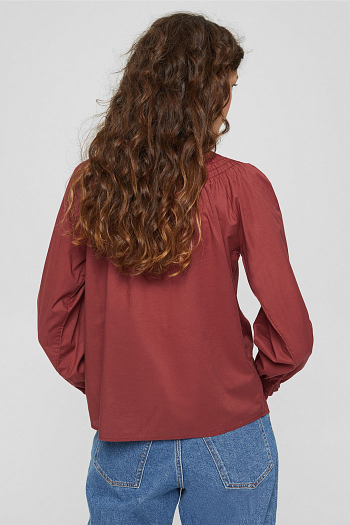 Gesmokte Bluse aus 100% Organic Cotton, GARNET RED, detail image number 3