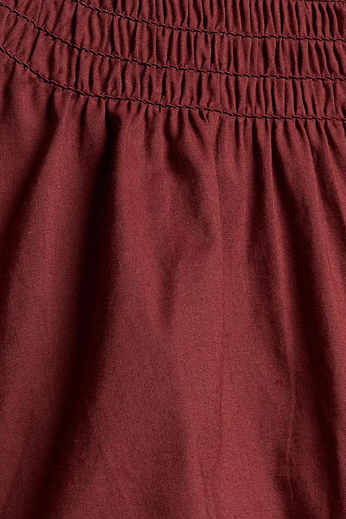 Gesmokte Bluse aus 100% Organic Cotton, GARNET RED, detail image number 4