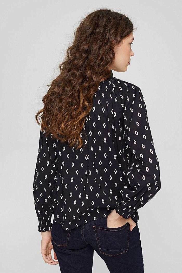 Gesmokte blouse met print van organic cotton, BLACK, detail image number 3