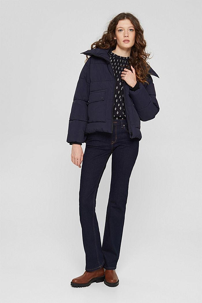 Gesmokte blouse met print van organic cotton, BLACK, detail image number 1